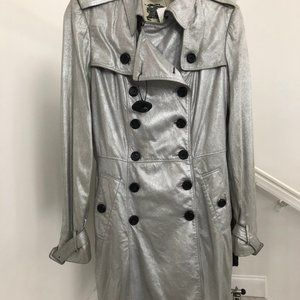 BURBERRY LONDON Silver 100% Suede Trench Coat